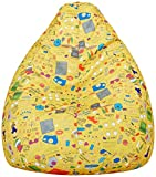 Amazon Brand - Solimo Jaunty Yellow XXL Printed Bean Bag Cover Without Beans