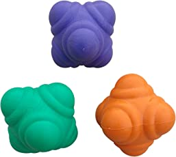 Foricx Rubber Reaction Ball (Multi-Colour, Pack of 3) for Improve Agility, Reflexes and Hand-Eye Coordination Skill with Your Partner/Small Hand Size (Multi-Color)