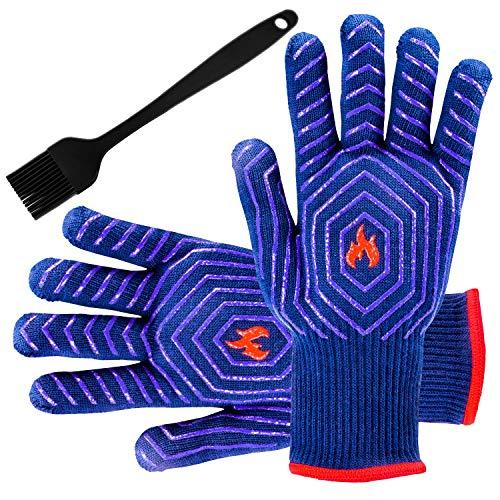 UNEEDE Grillhandschuhe 932°F Hitzebeständige Handschuhe Ofenhandschuh für Grill, Küche, Lager Kochen, Gartenarbeit, Kamin