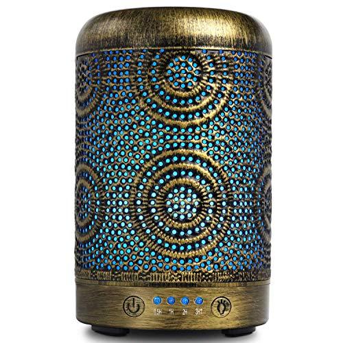 SALKING Aroma Diffuser Luftbefeuchter Humidifier, Handgefertigt Metall Diffusor für ätherische Öle, Automatisch Power-Off, 7 Farbe Licht Vintage Aromatherapie für Baby, Zuhause Büro Oder Yoga MEHRWEG - Mit Licht Bad-fan Ruhiges