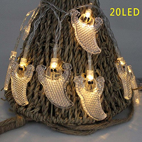Ebilun 20 LED Ghost Fairy String Light Lampe für Halloween Party Dekor Warmes (Halloween Ghost Dekor)