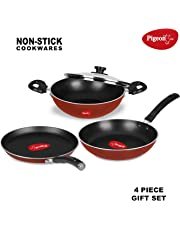 Pigeon by Stovekraft Basics Induction Base Non-Stick 4 PC Cookware Set, Terracotta Brown