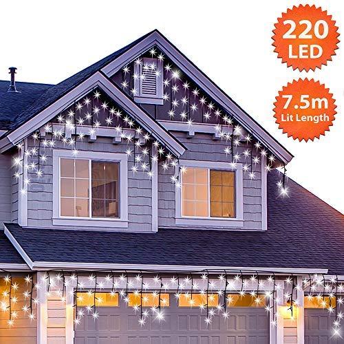 220 led tenda luminosa, luci natalizie per interni e esterni, bianco brillante catene luminose con 8 modalità luce/timer, memoria, trasformatore incluso, 7,5 m lunghezza- cavo verde