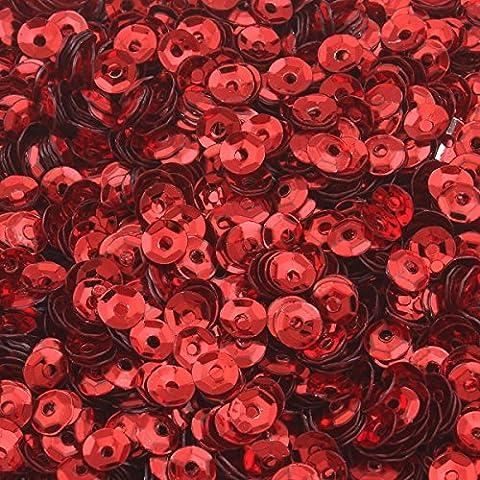 1200 Stk. Pailletten Ø 4mm Schüssel gewölbt für DIY Kleidung und Schmuck , Handwerk Metallic Farbauswahl Basteln Sequin Bombe (Rot)