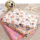 Idepet morbido coral copriletto coperta Pet, cuccia per cani gatti Sleep tappetini Puppy Kitten Doggie morbido caldo Slepping seduta Pad copertura cuscino con zampa stampa