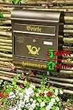 Großer Briefkasten Runddach R edel messing gold goldfarben Zeitungsfach Zeitungsrolle Postkasten