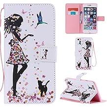 Ooboom® Funda para Apple iPod Touch 6/5 Flip Wallet Case Cover Elegante Carcasa Piel PU Billetera Soporte con Ranuras Tarjetas Correa de Muñeca Cierre Magnético - Niña