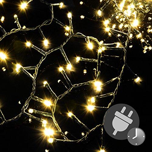 1000 LED Büschellichterkette Cluster warm-weiß für Außen IP44 Außen-Trafo 6h-Timer grünes Kabel 30 m Weihnachtsdekoration Party Xmas - 30 Büschel
