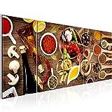 Bilder Küche - Gewürze Wandbild 200 x 80 cm Vlies - Leinwand Bild XXL Format Wandbilder Wohnzimmer Wohnung Deko Kunstdrucke Braun 5 Teilig -100% MADE IN GERMANY - Fertig zum Aufhängen 003155a