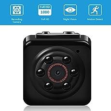 Vaxiuja Mini Cam Kamera 1080P Mini Kamera Full HD Tragbare Kleine Nanny Cam mit Nachtsichtgerät für Zuhause/Büro/Garten/Garage/Indoor/Outdoor Sicherheit Kamera