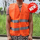 Sedeta® Orange Warnweste mit 2 Taschen Hochsichtbares Mesh-Tuch Motorradwesten für die Warnung des Flughafenarbeiters
