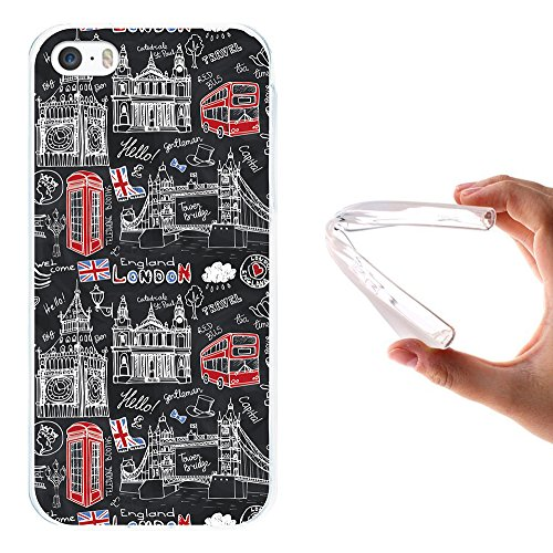 iPhone SE iPhone 5 5S Hülle, WoowCase Handyhülle Silikon für [ iPhone SE iPhone 5 5S ] London Symbole Handytasche Handy Cover Case Schutzhülle Flexible TPU - Transparent Housse Gel iPhone SE iPhone 5 5S Transparent D0307