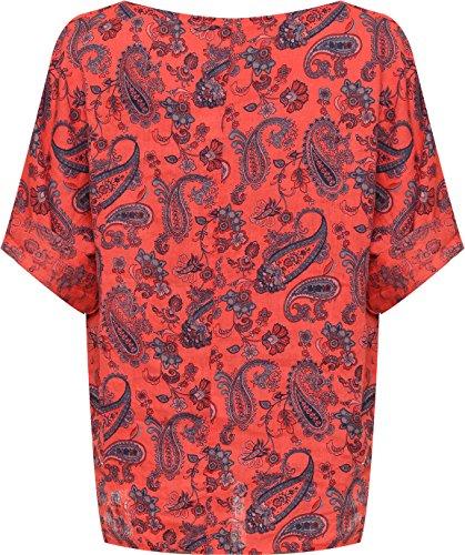 WEARALL Plus Damen Übergroß Leinen T-Shirt Top Damen Paisley Druck Kurz Hülle Ausgebeult - 44-54 Koralle