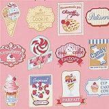 Rosa Stoff mit Schildern für Eis Donuts Kuchen
