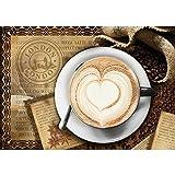 Vlies Fototapete PREMIUM PLUS Wand Foto Tapete Wand Bild Vliestapete - Kaffee Cappuccino Kaffeebohnen Herz London - no. 2150, Größe:208x146cm Vlies