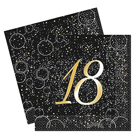 Unique Party 57498Glitz Gold Folie zum 18. Geburtstag Papier Servietten, 16Stück