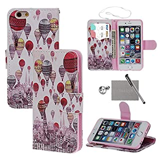 xhorizon FX Einfach Blumen Bunte Blumen-Ölgemälde Magnetisch Ledertasche Standfunktion Handyhülle Painting Book Stil Tasche Flip Case Cover für 4.7 Zoll iPhone 6 6s(Balloon)