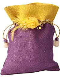 Exotic India Drawstring Potli Bag With Embellishments And Patch - Multi-Coloured