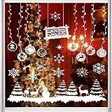 eSky24 Fensterbild, Fensteraufkleber für Weihnachten, Wiederverwendbare selbstklebend Fenstersticker aus PVC für Winter und Weihnachten (Schneeflocken&Kugel)
