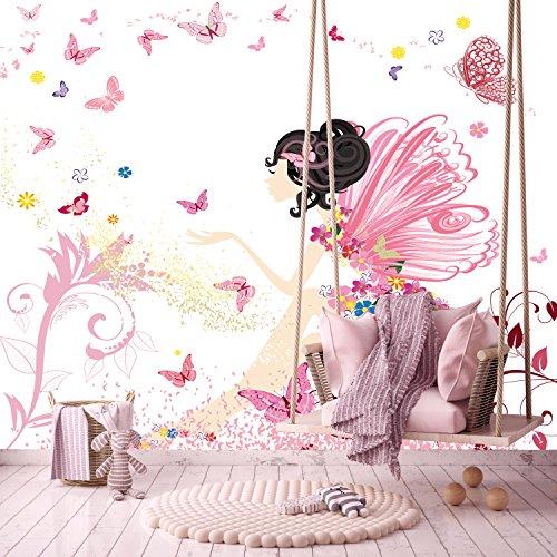 Fototapete Kinderzimmer 274,5 x 254 cm Fee Blumen Schmetterlinge ...