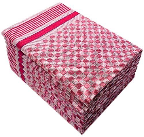 10 Grubentücher 45x90 cm rot Küchentücher Grubentuch Set 100% Baumwolle (Geschirrtuch Rot)