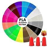 3D Stift Filament, kungfuren PLA Filament 1.75mm Insgesamt 320 Fuß für einen 3D Stift, 16 Farben / je 20 Fuß