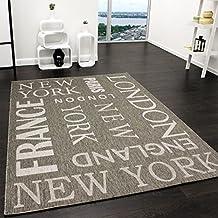 alfombra moderna city aspecto sisal tejido liso diseador alfombra en gris tamaox cm