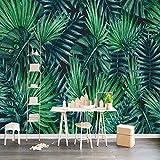 Ohcde Dheark Benutzerdefinierte Fototapete Nordic Handbemalte Regenwald Pflanzen Grüne Blätter Wohnzimmer Tv Hintergrund 3D Wandbilder Tapeten 300Cmx210Cm(118.1 By 82.7 In)