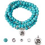 SUNNYCLUE 1 Borsa Fai da Te 108 Mala Preghiera Perline bracciali Avvolgere Collana Fare Kit Naturale Turchese Pietra preziosa