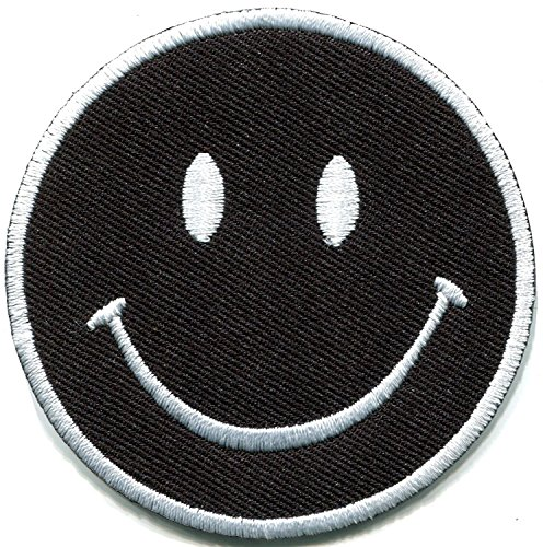 Smiley, Schwarz Boho 70er Retro Smile Fun bestickt Aufnäher Patches (Kostüme Diy Festival)