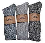 3 Pairs of Thick Warm Socks Wool Blend Boot Socks Walking Grey Size