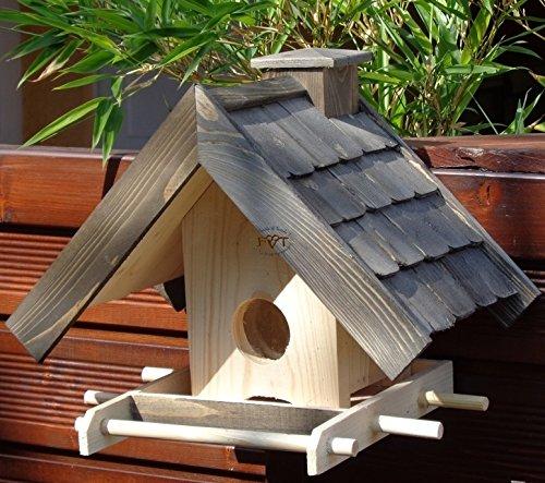 Vogelfutterhaus,BEL-X-VOWA3-at002 Großes Vogelhäuschen + 5 SITZSTANGEN, KOMPLETT mit Futtersilo + SICHTGLAS für Vorrat PREMIUM Vogelhaus - ideal zur WANDBESTIGUNG - vogelhäuschen, Futterhäuschen WETTERFEST, QUALITÄTS-SCHREINERARBEIT-aus 100% Vollholz, Holz Futterhaus für Vögel, MIT FUTTERSCHACHT Futtervorrat, Vogelfutter-Station Farbe schwarz lasiert, anthrazit Schwarzlasur / Holz natur, MIT TIEFEM WETTERSCHUTZ-DACH für trockenes Futter