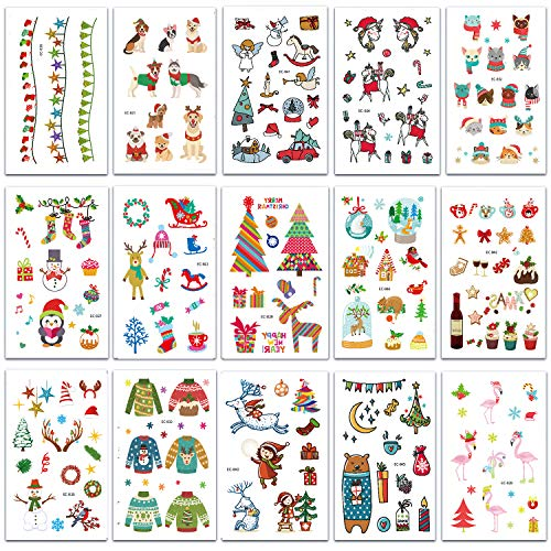 SZSMART Weihnachten Temporäre Tattoos Tätowierung Aufkleber, Wasserdicht Klebetattoo Tattoos Für Kinder Jugendliche Mädchen Kindergeburtstag Party Weihnachten Neues Jahr