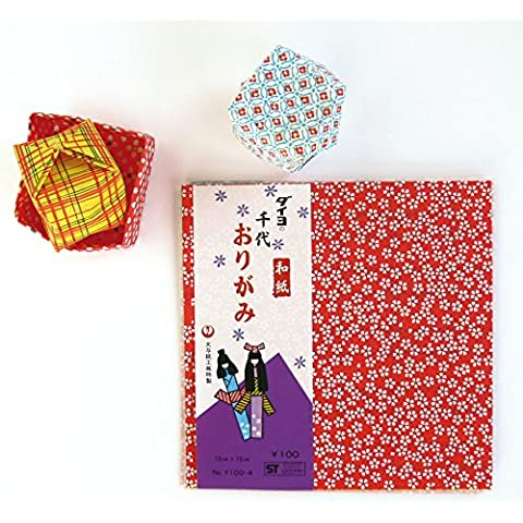 Oz International KY100-4 - Origami tradizionale, motivo: Chiyogami, carta Washi, 15 x 15 cm, 12 (Washi Chiyogami Carta)