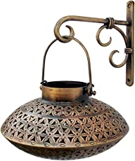 Indune Lifestyle Iron Wall Bracket With Perforated Degchi Tea Light Holder - Antique Golden