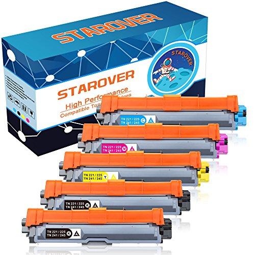 STAROVER 5x Kompatibel Tonerkartuschen Ersatz für Brother TN241 TN-241 TN245 TN-245 Toner Patronen für Brother DCP-9020CDW DCP-9015CDW DCP-9022CDW HL-3140CW HL-3150CDW HL-3170CDW HL-3142CW HL-3152CDW HL-3172CDW MFC-9340CDW MFC-9140CDN MFC-9330CDW MFC-9130CW MFC-9142CDN MFC-9342CDW MFC-9332CDW (TN-241BK / TN-241C / TN-241M / TN-241Y)