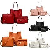 HUYURI Damen Handtasche 4-teiliges Set Schultertaschen Handtasche Tragetasche Damen Groß + Umhängetasche + Geldbörse + Karten
