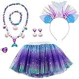 MMTX Faldas Tutu Tul Costume Regalo para Niñas Disfraces Sirena Cosplay Fiesta Danza Faldas 6 Piezas Sirena Joyas Set Sirena