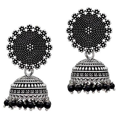 Jaipur Mart Jhumki Earrings for Women (Silver-Black)(GSE247BLK)
