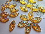 Sew on rhinestones golden AB colour 9x18mm Navette shape crystal gem stones strass hand sewing 100pcs/lot