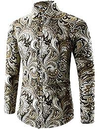 feiXIANG Herren Hemd Männer Slim-Fit Hemd 3D Drucken Business Hochzeit  Freizeit Hemden mit Langarm 611cccba3f