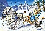 Puzzle 120 Teile - Schneekönigin - Märchen Prinzessin böse Hexe - Kinderpuzzle für Kinder Geschichte Winter Schlitten