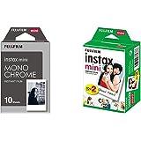 Fujifilm - Twin Films pour Instax Mini - 86 x 54 mm - 10 feuilles x 2 paquets + Fujifilm 70100137913 Instax Mini Développement Instantané Monochrome