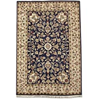 Tradizionale a mano Kashan tappeto persiano, lana/Art. Seta (highlights), blu