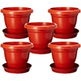 Abasr Plastic Planter, Brown, 12Inch, Pack Of 5