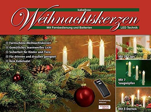 LED Weihnachtskerzen Creme / Elfenbein / mit Zubehör / inkl. Batterien / GS geprüft / kabellose Weihnachtsbaumbeleuchtung (20er Set Creme / Elfenbein)
