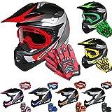 Leopard LEO-X19 *ECE 2205 Genehmigt* Kinder Motocross MX Helm Motorradhelm Crosshelm Kinderquad Off Road Enduro Sport + Handschuhe + Brille - Rot M (51-52cm)