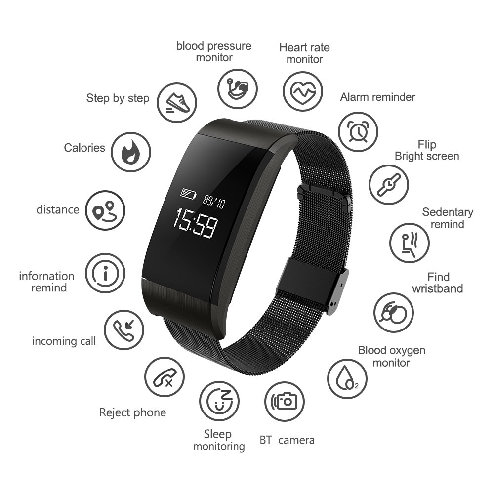 Fitness Health Tracker With Touch Screen Smart Watch Heart Rate Monitor CalorieStep Counter Blood Pressure Sleep Monitor IP67 Waterproof Activity Tracker Sport Bracelet Wristband For IOSAndroid