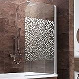 Schulte Duschwand Berlin, 80x140 cm, 5 mm Sicherheitsglas Terrazzo, alu-natur, Duschabtrennung für Badewanne