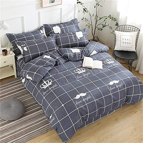 UOUL Bettwäscheset Baumwolle 4-teilig Plaid Blau Kinder Schlafzimmer Atmungsaktiv Cool Jugend Doppel Einzel,Lattice-4,California King - California Navy King Quilt